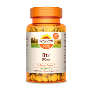 B12, 500mcg, Sundown, vitamina, suplemento, saludable, energía, apetito, saludable, vegano